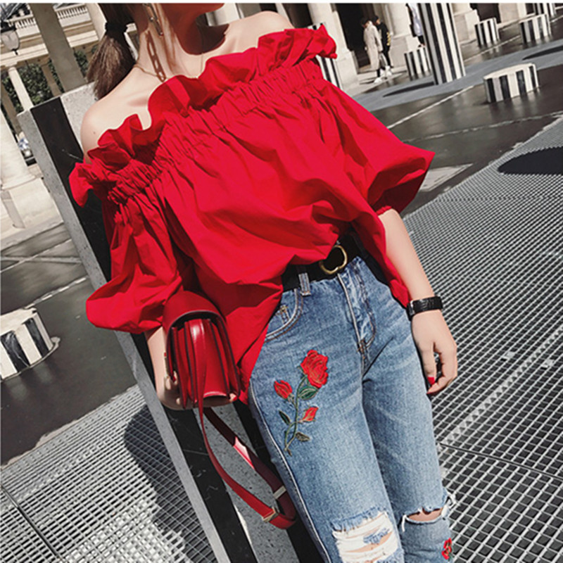 Toko Peri Merah Kelima Lengan Pullover Flounced Kemeja Merah Asli Spot Dekat Sini